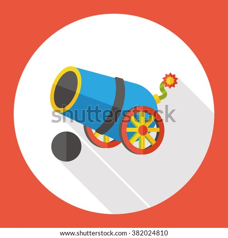 pirate cannon flat icon - stock vector
