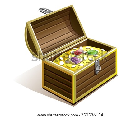 pirate chest with gold coins , diamonds