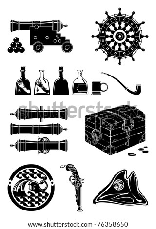 Pirate collection, vector - stock vector
