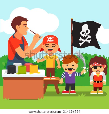 Pirate costume and painting party in kindergarten. Teacher painting kids face. Vector flat style isolated cartoon illustration. - stock vector