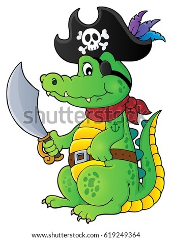 Pirate crocodile theme 1 - eps10 vector illustration.