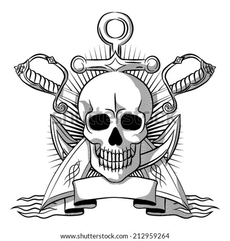 Pirate emblem with a skull in the style of an ancient engraving. - stock vector