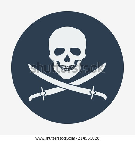 Pirate flag icon, jolly roger, skull and sabers. Flat design style modern vector illustration. Isolated on background. Elements in flat design. - stock vector