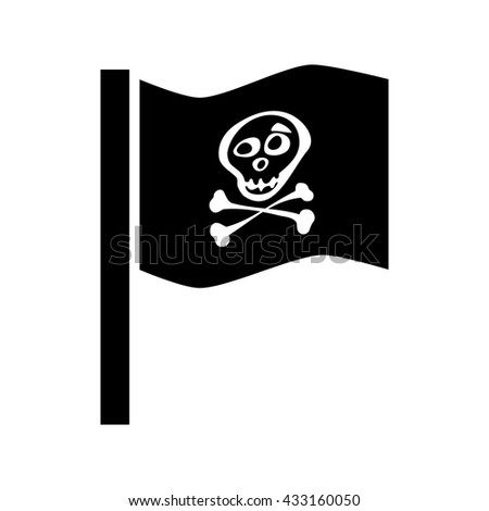 Pirate flag icon vector isolated. Jolly Roger sign