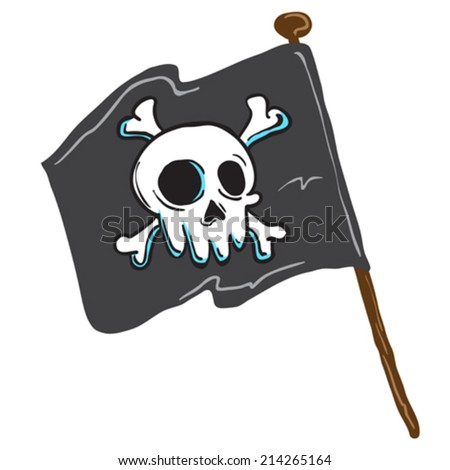 pirate flag isolated on white comic illustration - stock vector