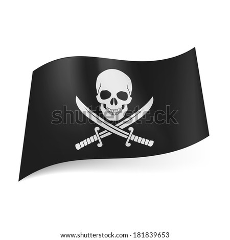 Pirate flag of skull with crossed sabers on black background