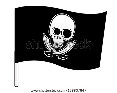 Pirate flag with a skull and swords