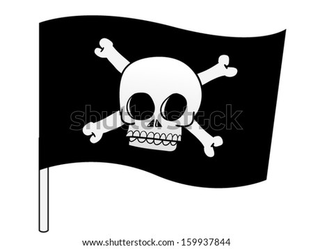 Pirate flag with cross bones and a skull - stock vector