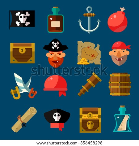 Pirate Game icons Flat style  Vector Illustration Set - stock vector