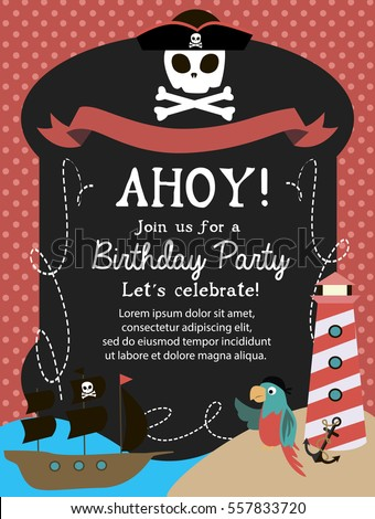 Pirate happy birthday invitation card template stock vector hd pirate happy birthday invitation card template vector illustration stopboris Image collections