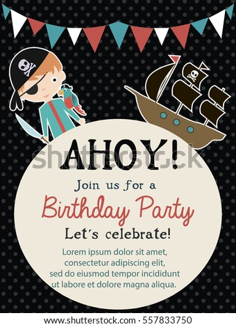 Pirate happy birthday invitation card template stock vector pirate happy birthday invitation card template vector illustration stopboris Gallery