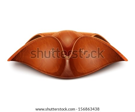 pirate hat vector illustration isolated on white background EPS10. Transparent objects and opacity masks used for shadows and lights drawing - stock vector