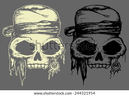 Pirate head skull in dark and inverted color isolated  - stock vector