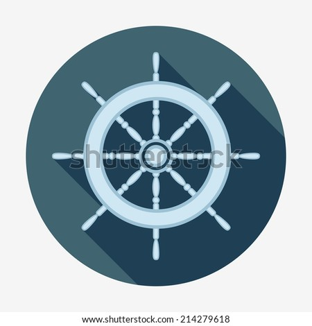 Pirate icon, ship's helm. Flat design style modern vector illustration. Isolated on stylish color background. Square flat long shadow icon. Elements in flat design. - stock vector