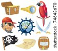 Pirate icons collection - stock vector