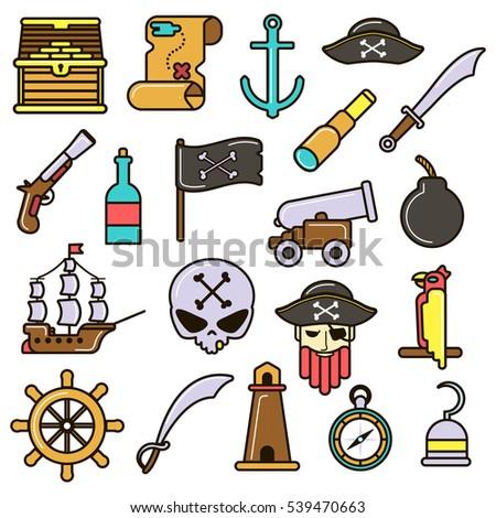 Pirate Icons Set Treasure Chest Map Stock Vektorgrafik Lizenzfrei