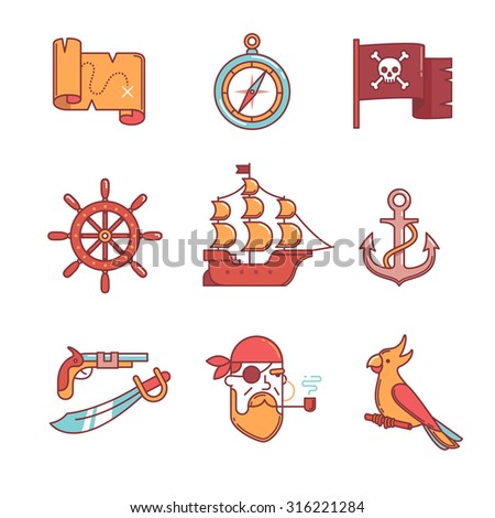 Pirate icons thin line set. Flat style color vector symbols isolated on white. - stock vector