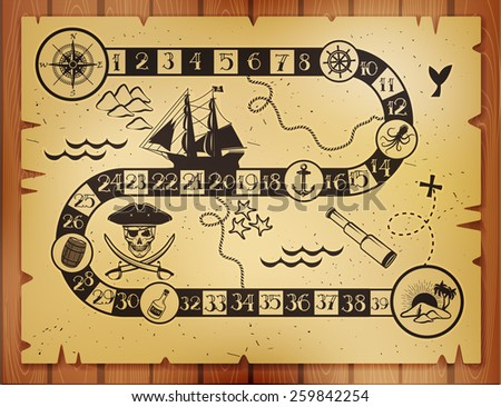 Pirate map - stock vector