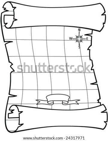pirate map - vector illustration - stock vector
