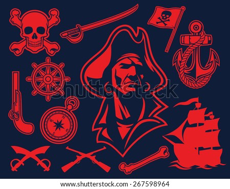 pirate mascot set - stock vector