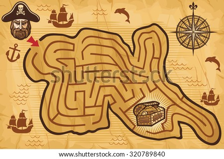 pirate maze for kids with treasure map and pirate (labyrinth for children, pirate game) - stock vector