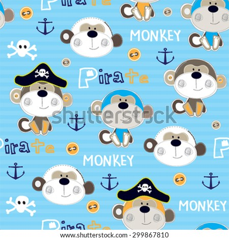 pirate monkey seamless pattern background vector illustration - stock vector