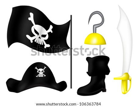 Pirate object set - stock vector