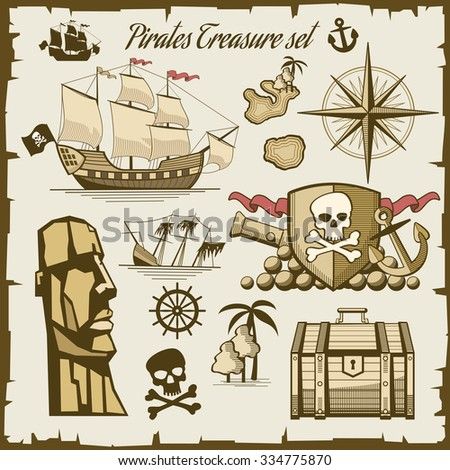 Pirate objects vector set. Cannon and symbol skull, sea ship illustration - stock vector