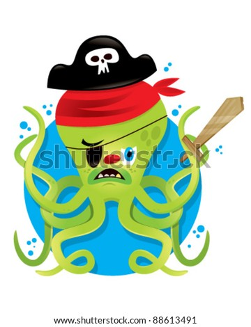 Pirate Octopus - stock vector