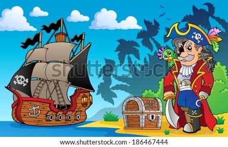Pirate on coast theme 3 - eps10 vector illustration. - stock vector