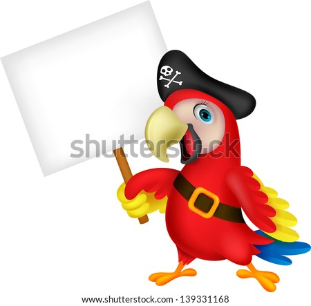 Pirate parrot cartoon with blank sign - stock vector