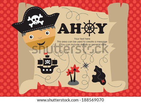 pirate party card design. vector illustration - stock vector