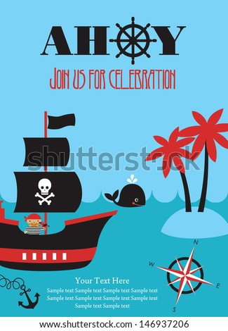 Pirate party invitation card design vector stock vector 146937206 pirate party invitation card design vector illustration stopboris