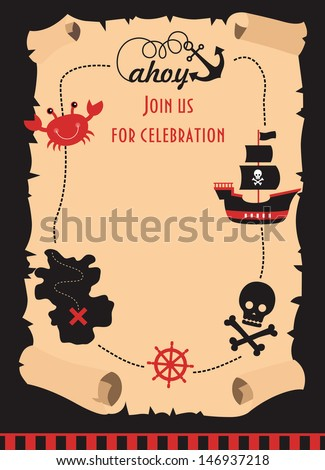 pirate party invitation card design. vector illustration - stock vector