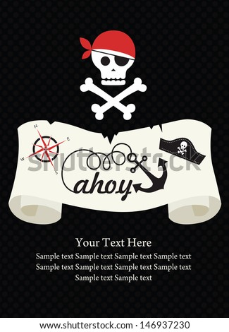 Pirate party invitation card design vector stock vector 146937230 pirate party invitation card design vector illustration stopboris