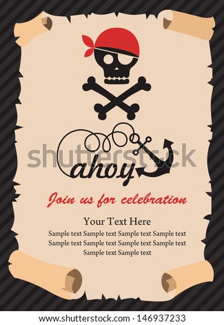Pirate party invitation card design vector stock vector 146937233 pirate party invitation card design vector illustration stopboris Gallery