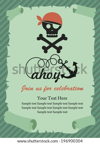 Pirate party invitation card design vector stock vector 146937233 pirate party invitation card design vector illustration stopboris