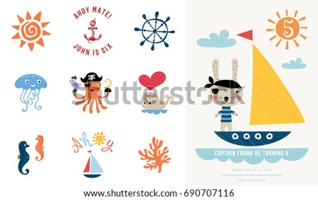 Pirate party invitation vector illustration stock vector 2018 pirate party invitation vector illustration stopboris Image collections