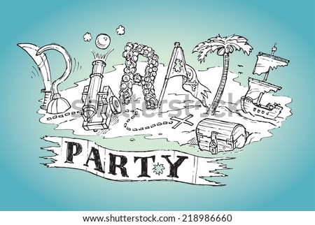 Pirate Party Invite Poster Background Hand Vector 218986654 – Pirate Party Invite