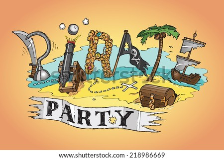 Pirate party invite poster background hand stock vector 218986669 pirate party invite or poster background hand drawn color isolated vector sketch on orange background stopboris