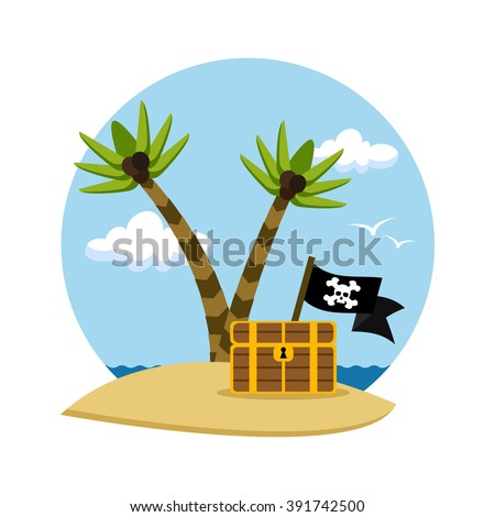 Pirate's treasure chest on a tropical beach with palm trees, vector illustration - stock vector