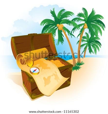 Pirate's treasure. Vector. - stock vector