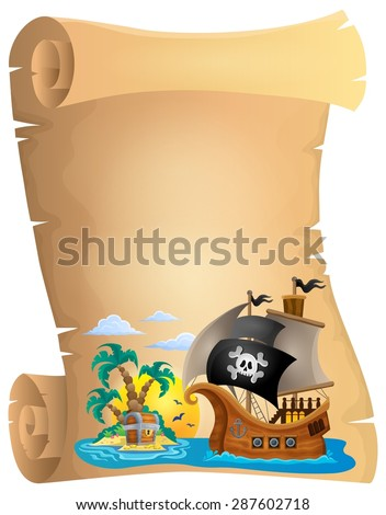 Pirate scroll theme image 2 - eps10 vector illustration. - stock vector