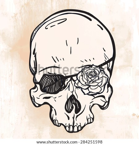 Pirate scull with eye patch and rose flower instead of the eye. Tattoo, romance and adventure collection. Vintage style. Hand drawn isolated vector illustration.   - stock vector