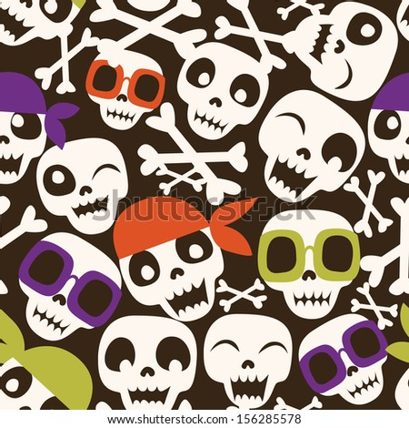 Pirate sculls seamless pattern - stock vector