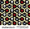 Pirate seamless wrapper with skulls, roses and knifes - stock vector