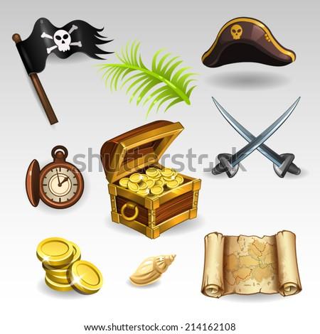 Pirate set - stock vector