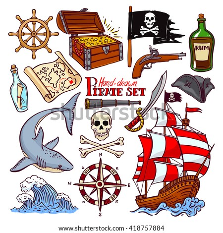 pirate set. collection of hand-drawn pirate paraphernalia. pirate flag, ship, navigation attributes