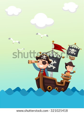 pirate ship beautiful landscape vector,illustration. - stock vector