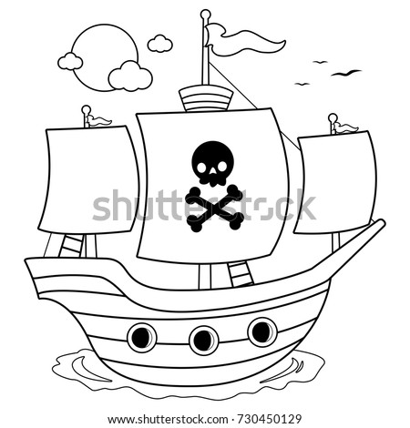 Pirate Ship Black White Coloring Book Stock Vector 730450129 ...